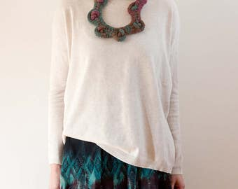 Knitted asymmetric necklace in teal and purple Chunky knot necklace, OOAK fiber statement jewelry
