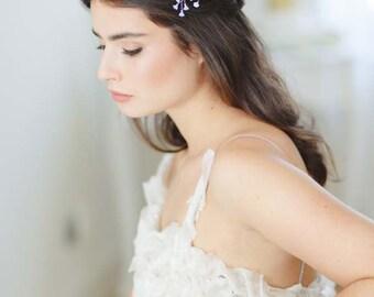 Iris I Delicate Crystal and Glass Flower Bridal Hair Pins, Something Blue Hair Pin, Bridesmaid Hair Accessories, Floral Wedding Hair Pin