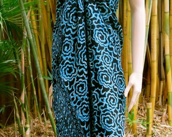 Blue and Black Sarong, Wrap, Pareo