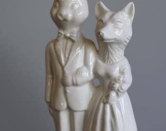 Bunny and Fox Wedding Cake Topper  Handmade ceramic