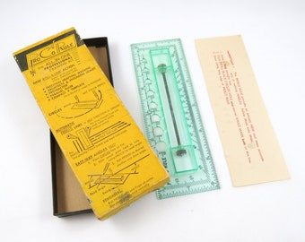 "Vintage Rolling Ruler, ProCo Rule, All in One Drawing Kit in Box, Drafting Machine, Protractor, Compans, Angles, Art Supplies,  6"" inches"