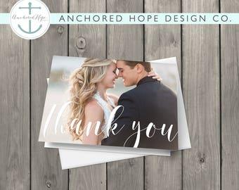 "Wedding Thank You Card | 5""x7"" Folded Card | Photo Thank You"