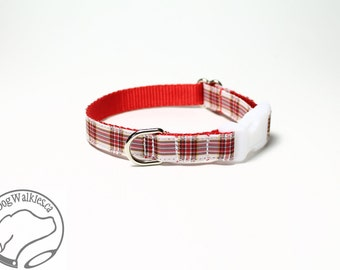 "NEW width - Dress Stuart Tartan Small Dog Collar - Thin Dog Collar - 1/2"" (12mm) Wide - Red White Plaid - Choice of collar style and size"