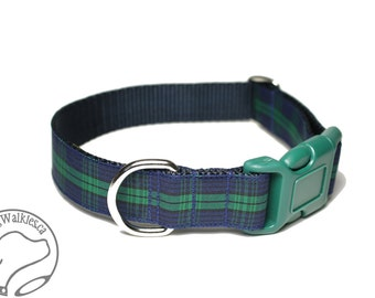 """BlackWatch Tartan Dog Collar - 1"""" (25mm) Wide - Green and Navy Plaid - Choice of size & style - Martingale or Quick Release Buckle"""
