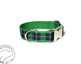 """Hibernian or Hibs Tartan Dog Collar - FC Plaid - 1"""" (25mm) Wide - Side Release or Martingale Dog Collar - Choice of collar style and size"""