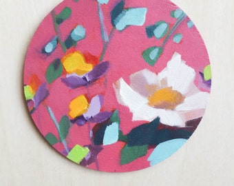 floral handpainted wooden ornament for your holiday decor