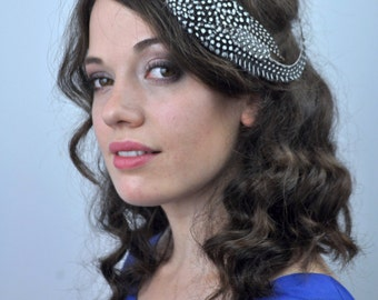 Feather Fascinator Hair Clip in Monochrome Polka dot Feathers