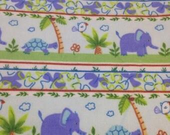 Elephant Jungle turtle Flannel, purple, green orange jungle flannel, pine trees, by the yard