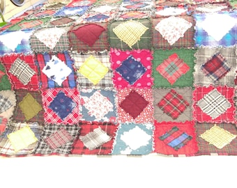 TWIN Multi-Color Flannel Rag Quilt Handmade Recycled Fabrics