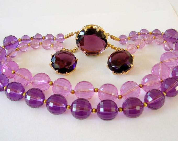 Chunky Vintage Translucent Amethyst Lucite Necklace Earrings Demi Parure Ornate Glass Clasp Faceted Glass Earrings Vendome?