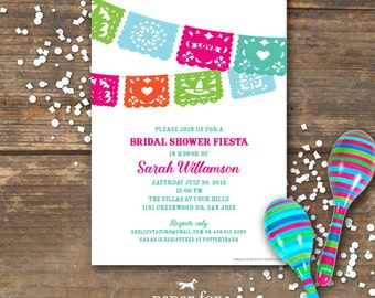 Fiesta Bridal Shower Invitation Printable - Wedding - Papel Picados
