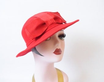 Vintage 1960's Red Wool Hat with Red Grosgrain Ribbon Bow