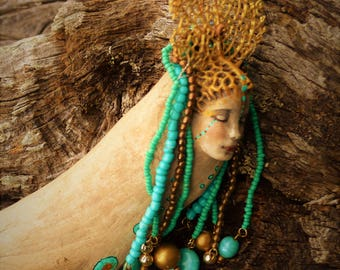 Reserved for Jeff and Cat, The Thai Mermaid, Jeweled Driftwood Sculpture by Debra Bernier