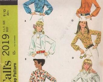 1960s Teen Blouse Pattern McCalls 2019 Juniors Size 13/14 Uncut