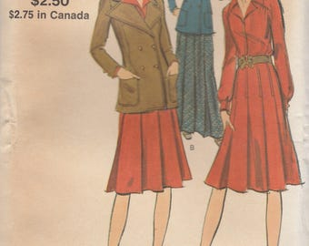 Double Breasted Jacket & Dress Pattern Vogue 8174 Size 10 Uncut