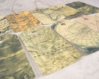 12 gift tags, vintage old map, dozen hang tags, travelers gift, gift wrapping material