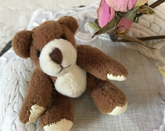 Vintage Miniature Teddy Bear. Hand Crafted, Vinyl Paw Pads, Moveable Arms and Legs, Brown and White Wool TEDDY BEAR.