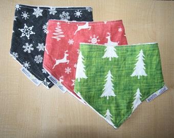 SALE - Baby Christmas Bandana Bib Set, Christmas Baby Bib, Drool Bib, Red Reindeer Bib, Green Tree Bib, Grey Snowflakes, Baby Shower Gift