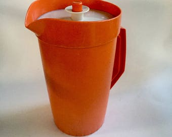 Vintage Tupperware Orange 1.5 qt Pitcher