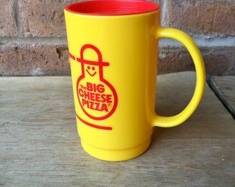 The Big Cheese Pizza Cup with Lid, Yellow, 1980's