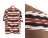 vintage t shirt / striped t shirt / grunge / pocket t shirt / 1990s muli striped pocket t shirt Medium