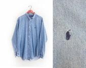 vintage button up / POLO Ralph Lauren / oversize / 1990s faded blue denim Polo button up XL