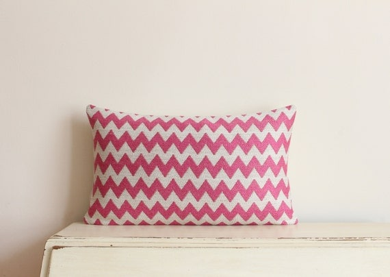 "SALE - Woven zig-zag pillow cushion cover 12"" x 20"" in pink"