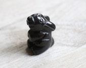 Obsidian Stone Bunny Rabbit Figurine F56