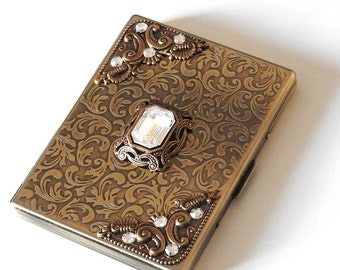 Brass Women  Cigarette Case Victorian Case for  King Size & 100's Gothic Cigarette Case Vintage Style Smoking Accessories Cigarette Holder
