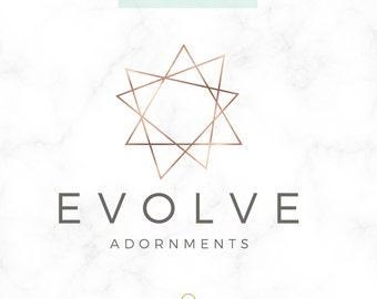 Premade Logo Design - Jewelry Designer Logo - Geometric Logo - Modern Logo - Simple Logo - Designer Logo - Copper Logo - Rosegold - Branding
