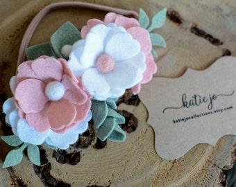 Spring Felt Flower Mini Crown/Pink and White Felt Flower Crown/Baby Headband/Photo Prop/