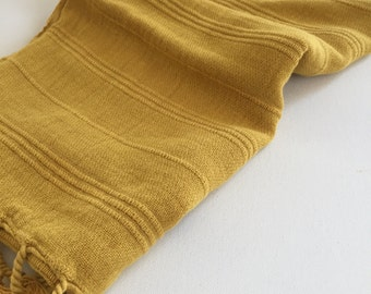 Hand Towel Peshkir Hand loomed vintage inspired in mustard color pure soft