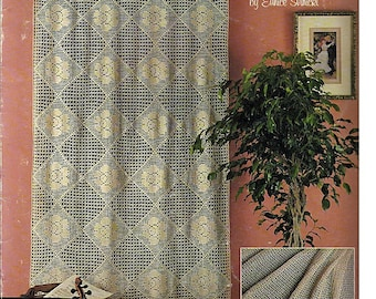Lace Curtains 6 Filet Crochet Designs in Bedspread Weight Cotton Pattern leaflet Leisure Arts 923