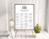 Wedding Seating Chart (Monogrammed) - Monogram Seating Chart, DIY, Printable, Reception Chart, Calligraphy, Black, White, Rush Service, pdf