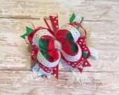 Christmas bow, lace christmas bow headband, lace bow, lace Christmas hairbow, first Christmas, baby lace headband,  red green lace bow