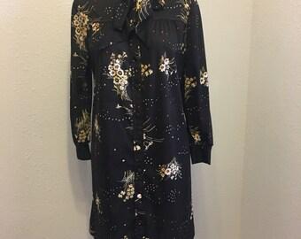 Vintage Dress, vintage brown dress, vintage polyester dress, 1970s dress, flower dress, large, extra large vintage dress