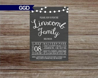 Chalkboard Family Reunion Invitation with Lights, family reunion invitation, family BBQ - Printed or Digital File