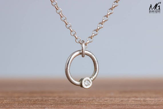 Tiny Diamond Necklace in Sterling Silver