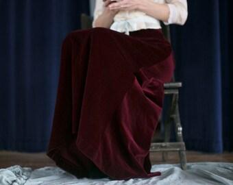 Vintage Velvet Maxi Skirt., Burgundy Deep Wine. Full length., Winter Skirt