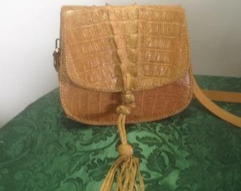 Vintage crocodile alligator deco boho shoulder taxidermy bag