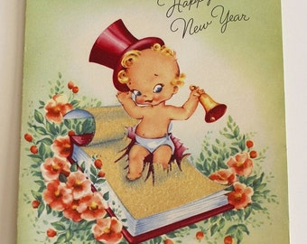 Vintage 1940s NEW YEAR'S CARD - Top Hat Baby Glittery Calendar Design (Unused)