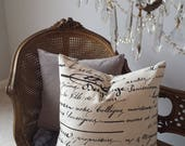 French Script Pillow Cover 20X20 Vintage Cursive Writing Black Cream Gray Shabby Chic Cottage French Farmhouse Style Decor Pillow Cover