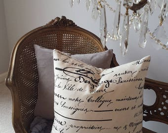 "French Script Pillow 20"" Vintage Cursive Writing Black Cream Gray Shabby Chic Cottage French Farmhouse Style Decor Throw Pillow Down Insert"