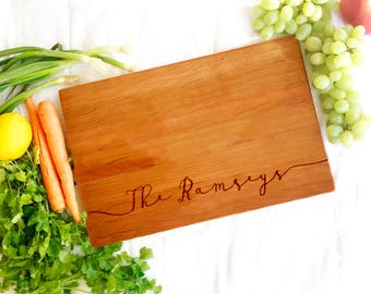 Personalized Cutting board. Custom Cherry Cutting Board. Engraved Serving Board with for personalized wedding present, marriage gifts.