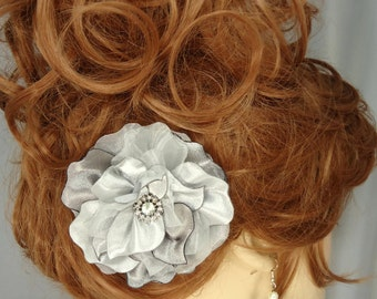 Wedding Accessory, Platinum Silver Flower, Bridal Headpiece, Bridal Accessory, REX14-189