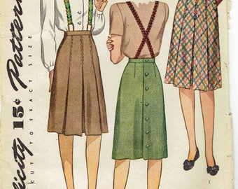 40s Box Pleated Skirt Pattern Simplicity 4824. Box Pleated Skirt with Braid Suspenders, Back Buttons, Below Knee. Size 16 Waist 28 inches.