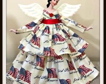 Patriotic Angel Tree Topper, USA Angel Doll, USA Flag, Dark Haired Angel, God Bless America Fabric, OOAK Handmade Porcelain Angel Doll
