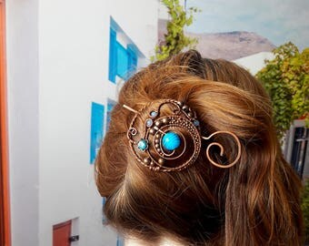 Celtic Shawl pin, Rustic Copper sweater pin or scarf pin in swirly design with blue glass, copper brooch
