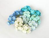 100 pcs - Shades of blue medium cherry blossoms paper flowers - Wholesale pack