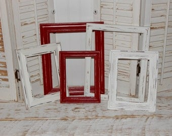 Distressed Picture Frames Red & White Frames Country Chic Frames Open Frames Display Frames